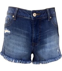 rewash juniors' high rise curvy-fit frayed denim shorts