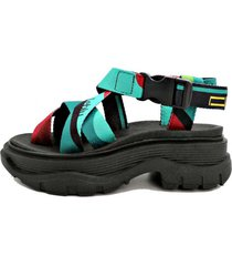 sandalia negra leblu  plataforma