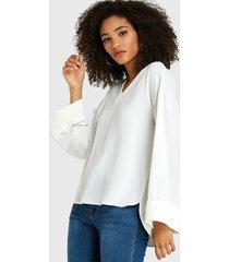 white slit diseño blusa de manga larga con cuello en v