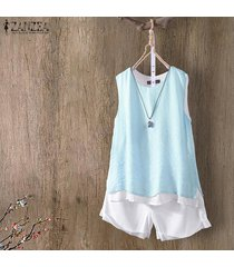 zanzea mujeres sin mangas summer tank tops casual cami blusa camisa camisole plus -azul claro