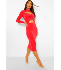 getextuurde strakke midi jurk met schouderpads, ruche en uitsnijding, red