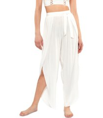 jessica simpson solid tie-waist cover-up beach pants women's swimsuit