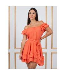 vestido miss misses rodado de crepe com babados laranja