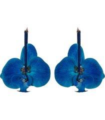 aretes flores orquideas azúl- atalí