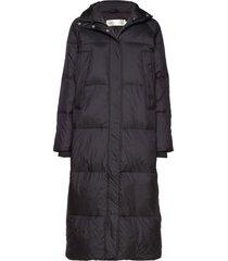 zayraiw long coat gevoerde lange jas zwart inwear