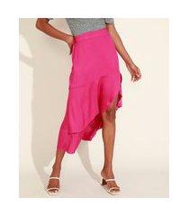 saia feminina midi assimétrica em camadas com babado e fenda pink