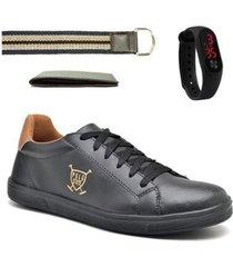 kit sapatênis masculino + relógio digital + carteira + cinto - masculino