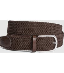 reiss elmont - woven belt in mid brown, mens, size 36