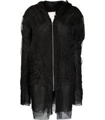 maison margiela crinkle-effect tulle hooded jacket - black