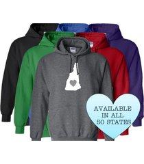new hampshire hoodie sweatshirt love home heart unisex men women state