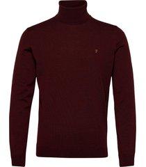 gosforth 100% merino wool roll neck jumper knitwear turtlenecks röd farah