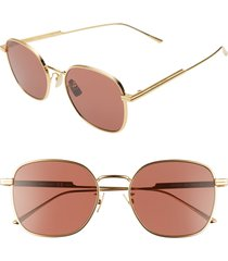 bottega veneta 56mm round sunglasses - gold/ red