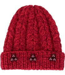0711 crystal bead knit beanie - red