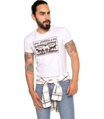 camiseta blanca-café levi's