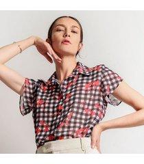 blusa para mujer en chiffon color-multicolor-talla-l