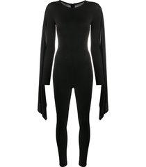 alchemy long flared sleeve jumpsuit - black