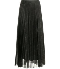 brunello cucinelli checkered tulle pleated skirt - grey