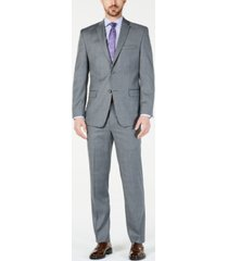 marc new york by andrew marc men's modern-fit stretch charcoal/blue glen plaid suit