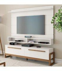 painel e rack para tv baron off white amãªndoa casah - branco - dafiti