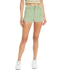bdg urban outfitters women's high waist corduroy shorts, size 26 in basil green at nordstrom