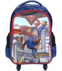 mochila infantil luxcel superman com rodinhas