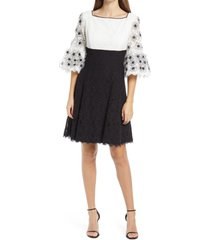 shani sequin lace empire waist cotton blend cocktail dress, size 14 in black/white at nordstrom