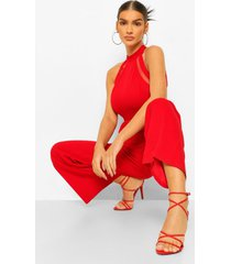 mesh detail high neck jumpsuit, red