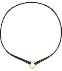 collar hold corazón de oro y cuero marrón 012342010