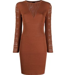 pinko open-knit panelled dress - brown