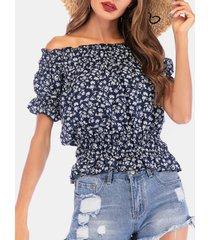 camicetta in chiffon da donna con elastico in vita a maniche corte con stampa floreale