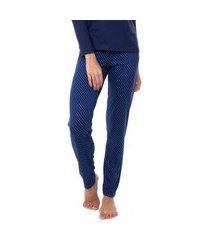 calça feminina e-pijama by sepie 5090 poliviscose - marinho poá