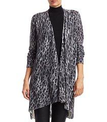 saks fifth avenue women's collection leopard-print cashmere cardigan - black combo - size xs