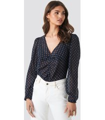 na-kd boho gathered front ls blouse - blue