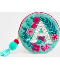 a round initial coin pouch - aqua