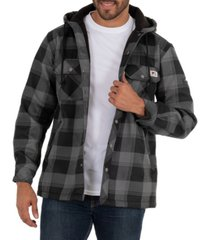 wells lamont men's yarn dye twill polar fleece flannel bonded overshirt jacket with hoodie