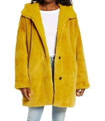 women's ugg nori oversize faux fur coat, size x-small/small - green