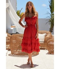 melissa odabash bethan dress red