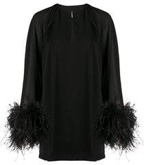 16arlington feather cuff dress - black