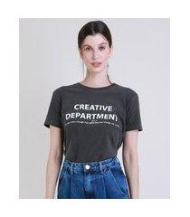 "t-shirt feminina mindset creative department"" manga curta decote redondo chumbo"""