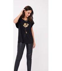 t- shirt silk flor com foil preto estonado
