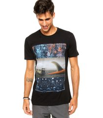 camiseta manga curta nicoboco concept sunrise preta - preto - masculino - dafiti