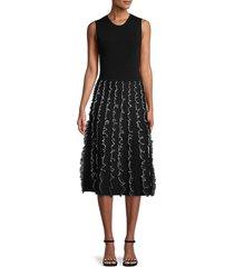 jason wu women's scribble a-line knit dress - black chalk - size m