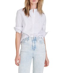veronica beard waha tunic button-up shirt, size medium in white blue at nordstrom
