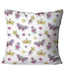 almofada avulsa decorativa tiaras e borboletas 45x45cm