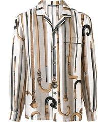 dolce & gabbana walking stick print shirt - brown