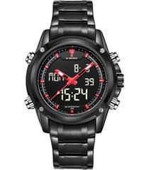 reloj naviforce análogo digital nf9050m acero inoxidable - negro rojo