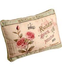 almofada estampada rosas de algodão com enchimento