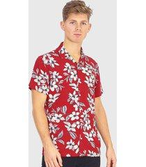camisa brave soul rojo - calce regular