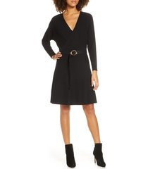 women's ever new madelyn belted ribbed long sleeve sweater dress