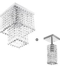 kit 1 lustre clearcrillic quad. + 1 marrycrilic cristal acr - prata - dafiti